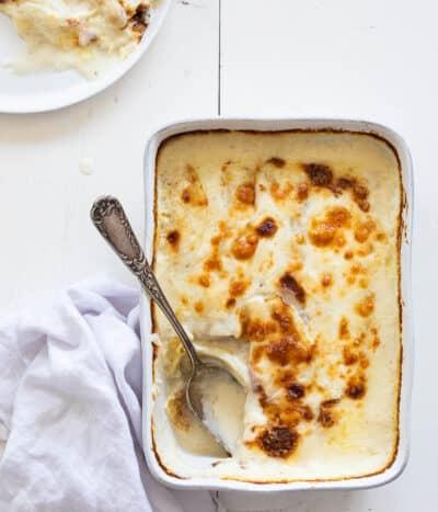Lasagne van witte asperges