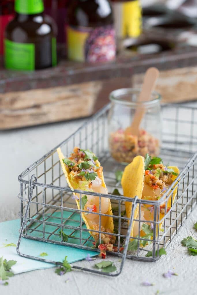 taco's met rauwe coquilles