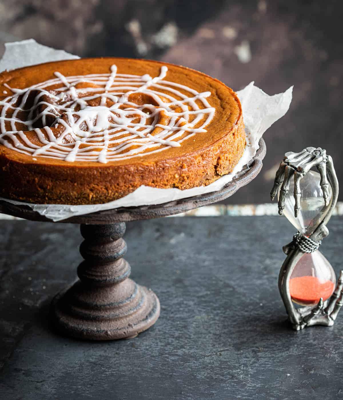 Halloween pompoen cheesecake