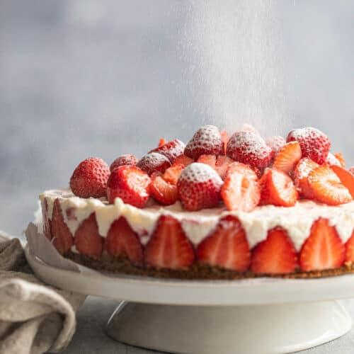 yoghurt cheesecake met aardbeien