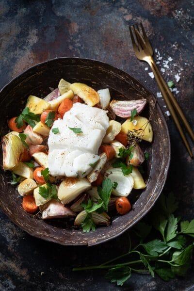 geroosterde groentes met gebakken vis 3