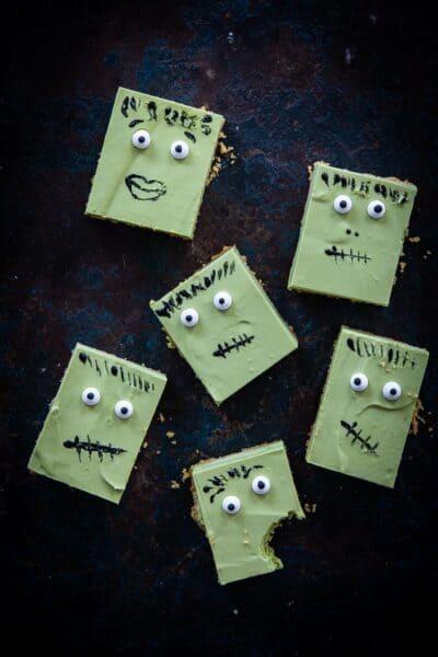 Frankenstein matcha cheesecake voor Halloween